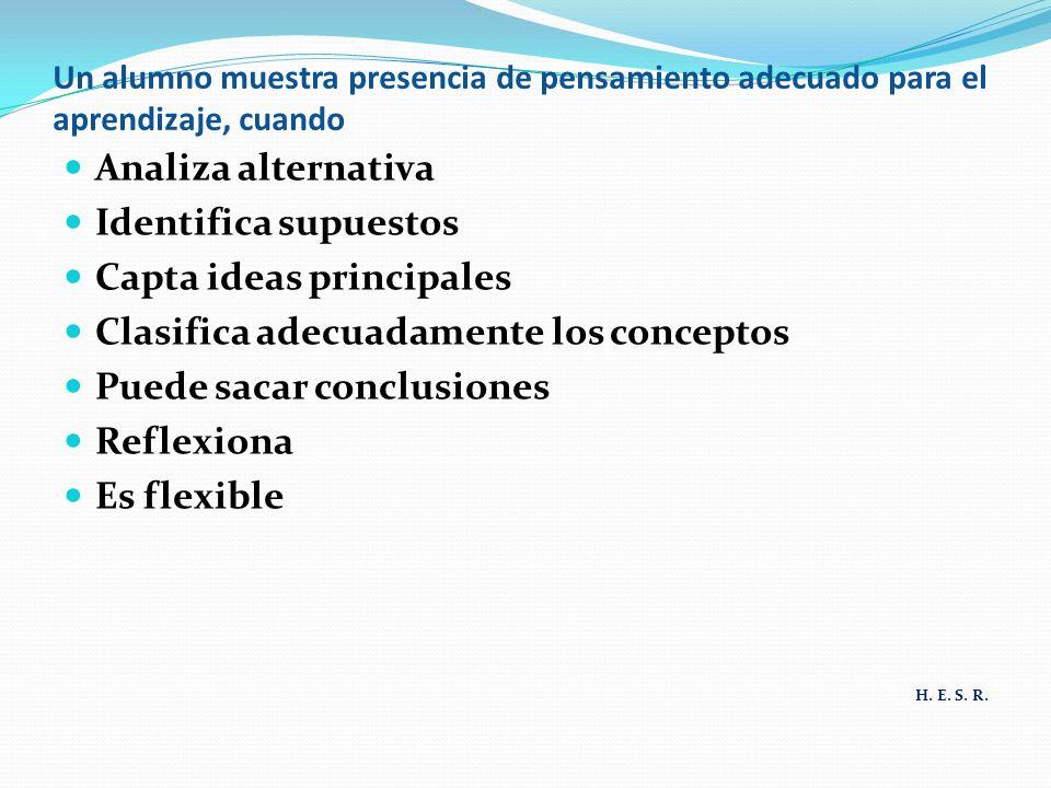 Un alumno muestra presencia de pensamiento adecuado para el aprendizaje, cuando Analiza alternativa Identifica supuestos Capta ideas principales Clasifica adecuadamente los conceptos Puede sacar conclusiones Reflexiona Es flexible H.