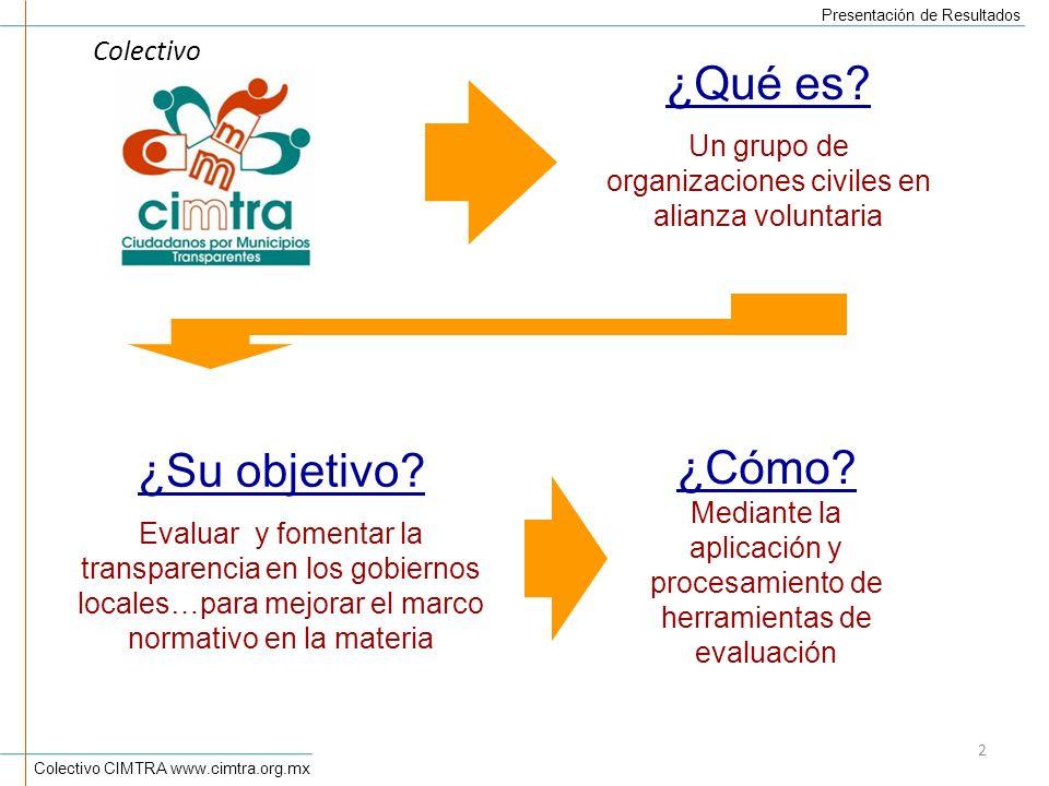 Colectivo CIMTRA www.cimtra.org.mx Presentación de Resultados 2 ¿Qué es.