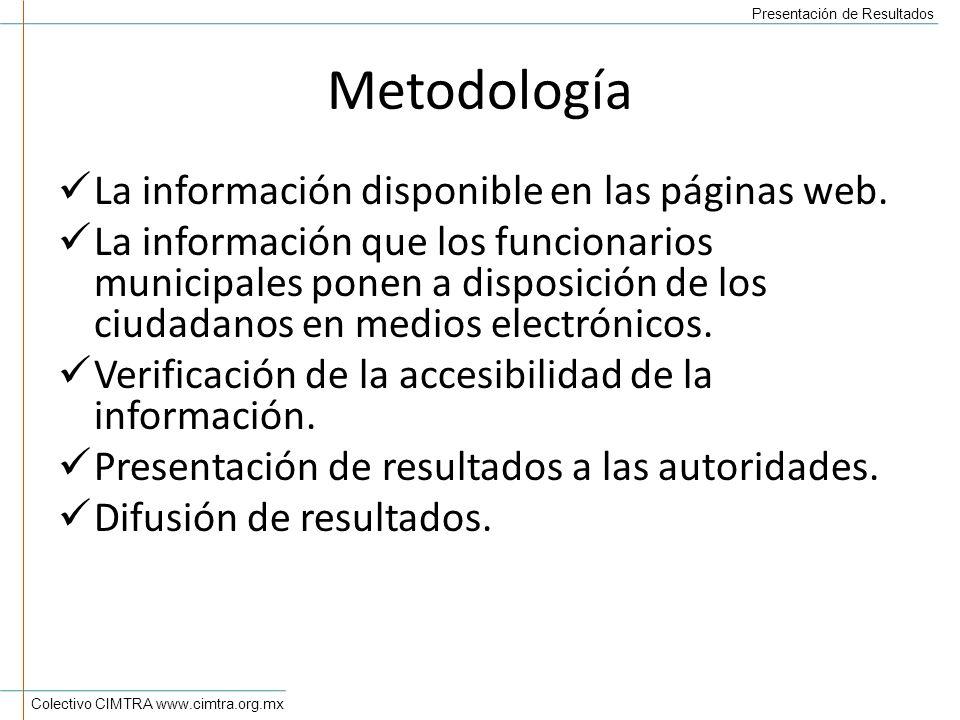 Colectivo CIMTRA www.cimtra.org.mx Presentación de Resultados Metodología La información disponible en las páginas web.