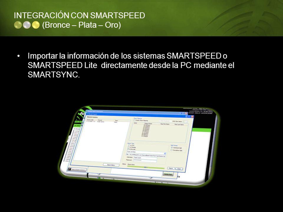 INTEGRACIÓN CON SMARTSPEED (Bronce – Plata – Oro) Importar la información de los sistemas SMARTSPEED o SMARTSPEED Lite directamente desde la PC median