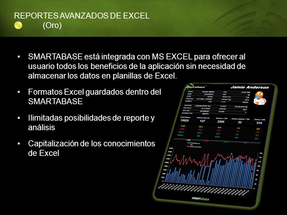 REPORTES AVANZADOS DE EXCEL (Oro) SMARTABASE está integrada con MS EXCEL para ofrecer al usuario todos los beneficios de la aplicación sin necesidad d