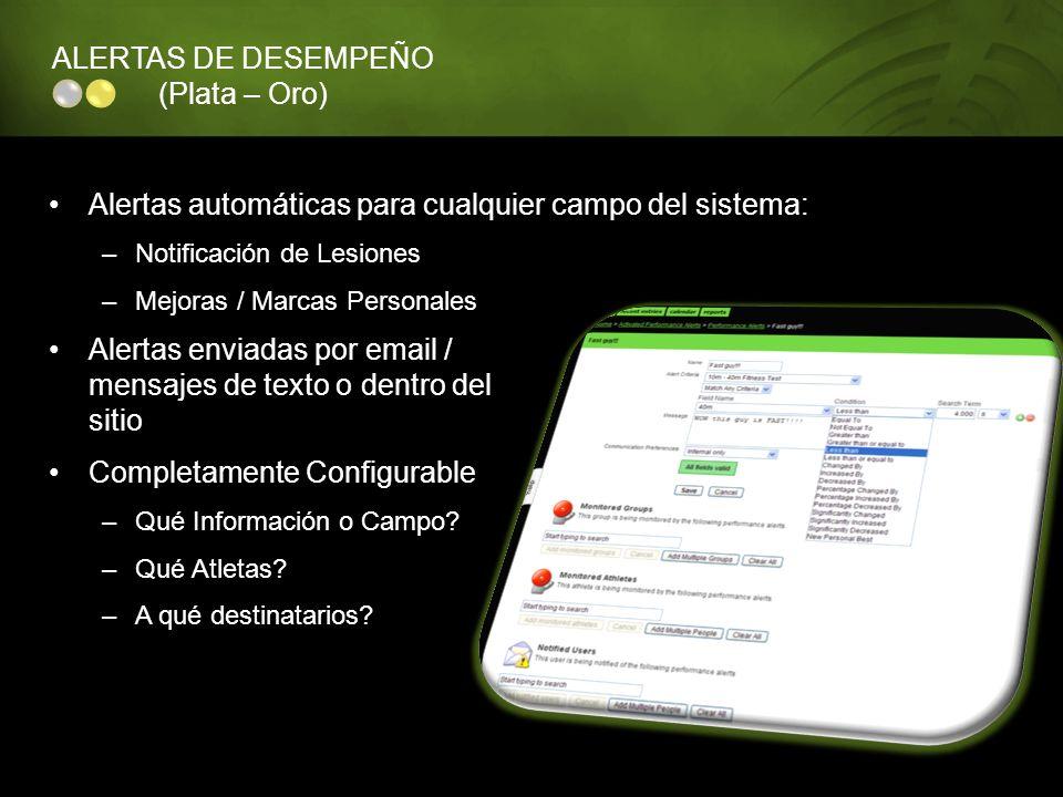 ALERTAS DE DESEMPEÑO (Plata – Oro) Alertas automáticas para cualquier campo del sistema: –Notificación de Lesiones –Mejoras / Marcas Personales Alerta