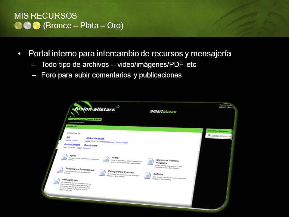 MIS RECURSOS (Bronce – Plata – Oro) Portal interno para intercambio de recursos y mensajería –Todo tipo de archivos – video/imágenes/PDF etc –Foro par