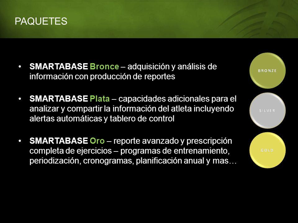 PAQUETES SMARTABASE Bronce – adquisición y análisis de información con producción de reportes SMARTABASE Plata – capacidades adicionales para el anali