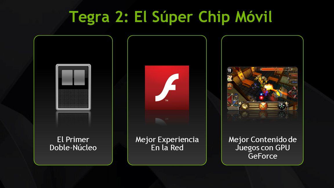 NVIDIA Confidential Tegra 2: El Súper Chip Móvil El Primer Doble-Núcleo Mejor Contenido de Juegos con GPU GeForce Mejor Experiencia En la Red