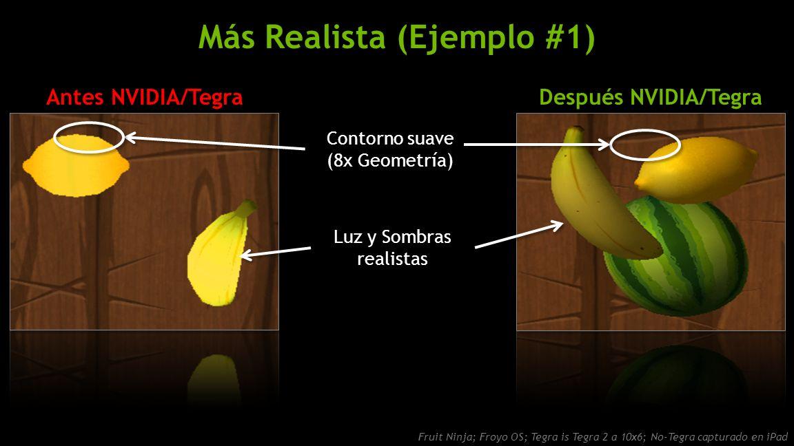 NVIDIA Confidential Más Realista (Ejemplo #1) Después NVIDIA/TegraAntes NVIDIA/Tegra Fruit Ninja; Froyo OS; Tegra is Tegra 2 a 10x6; No-Tegra capturado en iPad Contorno suave (8x Geometría) Luz y Sombras realistas