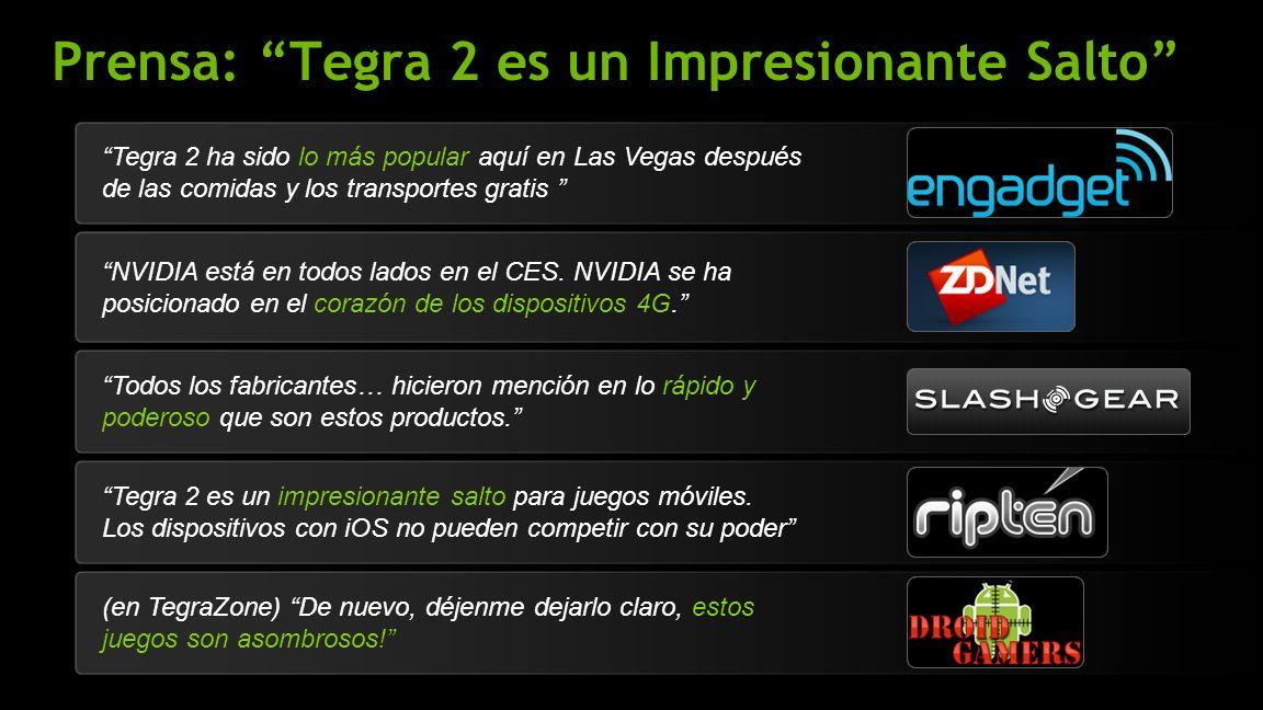 NVIDIA Confidential Prensa: Tegra 2 es un Impresionante Salto NVIDIA está en todos lados en el CES.