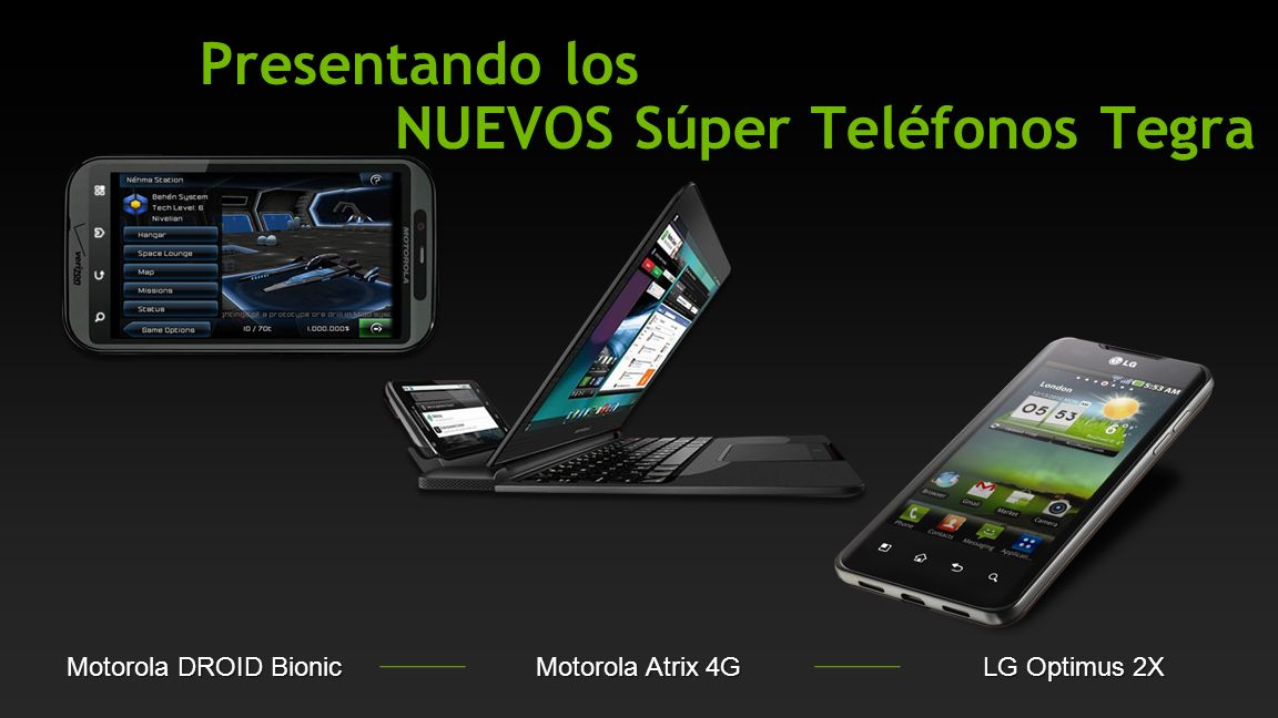 NVIDIA Confidential (x times faster) Resolución de 800x480, OMAP3640 is 852x480; Froyo OS Flash & HTML5 más Veloces