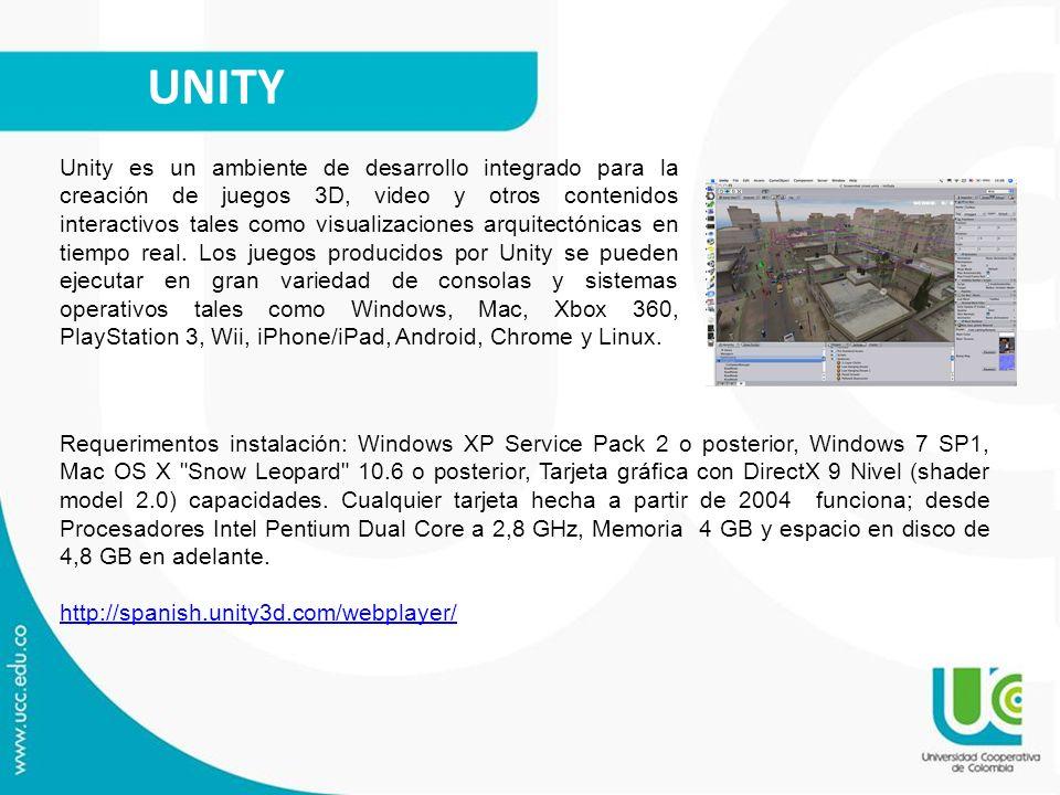 UNITY Unity es un ambiente de desarrollo integrado para la creación de juegos 3D, video y otros contenidos interactivos tales como visualizaciones arq