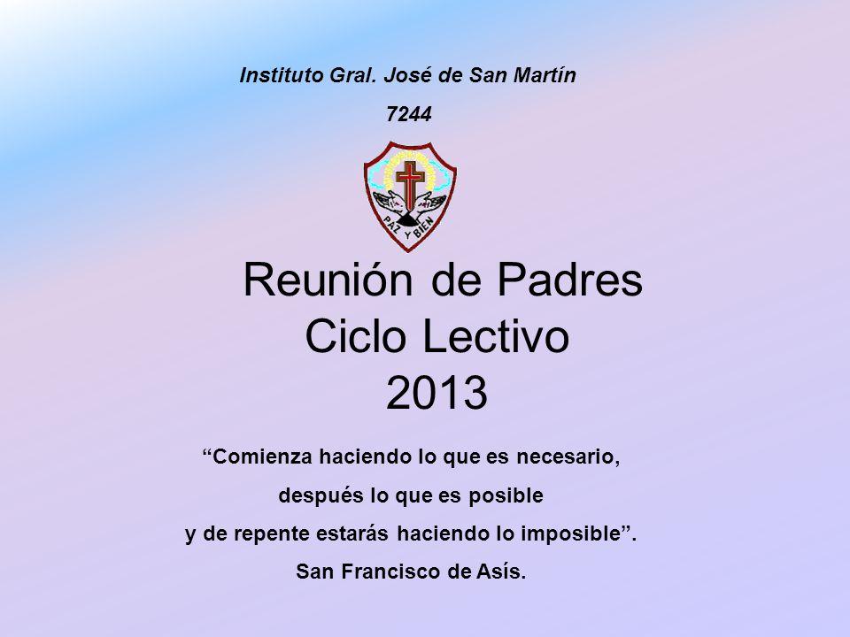 Reunión de Padres Ciclo Lectivo 2013 Instituto Gral. José de San Martín 7244 Comienza haciendo lo que es necesario, después lo que es posible y de rep