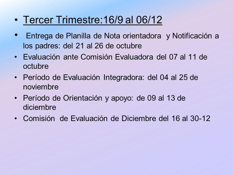Tercer Trimestre:16/9 al 06/12 Entrega de Planilla de Nota orientadora y Notificación a los padres: del 21 al 26 de octubre Evaluación ante Comisión E
