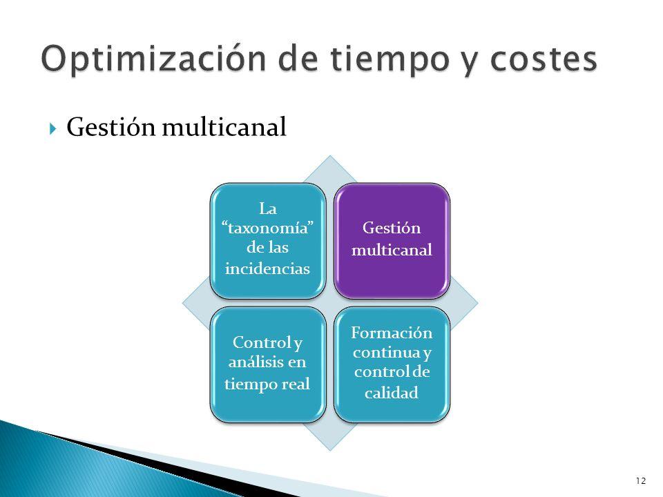 Gestión multicanal La taxonomía de las incidencias Gestión multicanal Control y análisis en tiempo real Formación continua y control de calidad 12