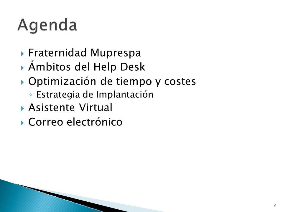 Fraternidad Muprespa Ámbitos del Help Desk Optimización de tiempo y costes Estrategia de Implantación Asistente Virtual Correo electrónico 2
