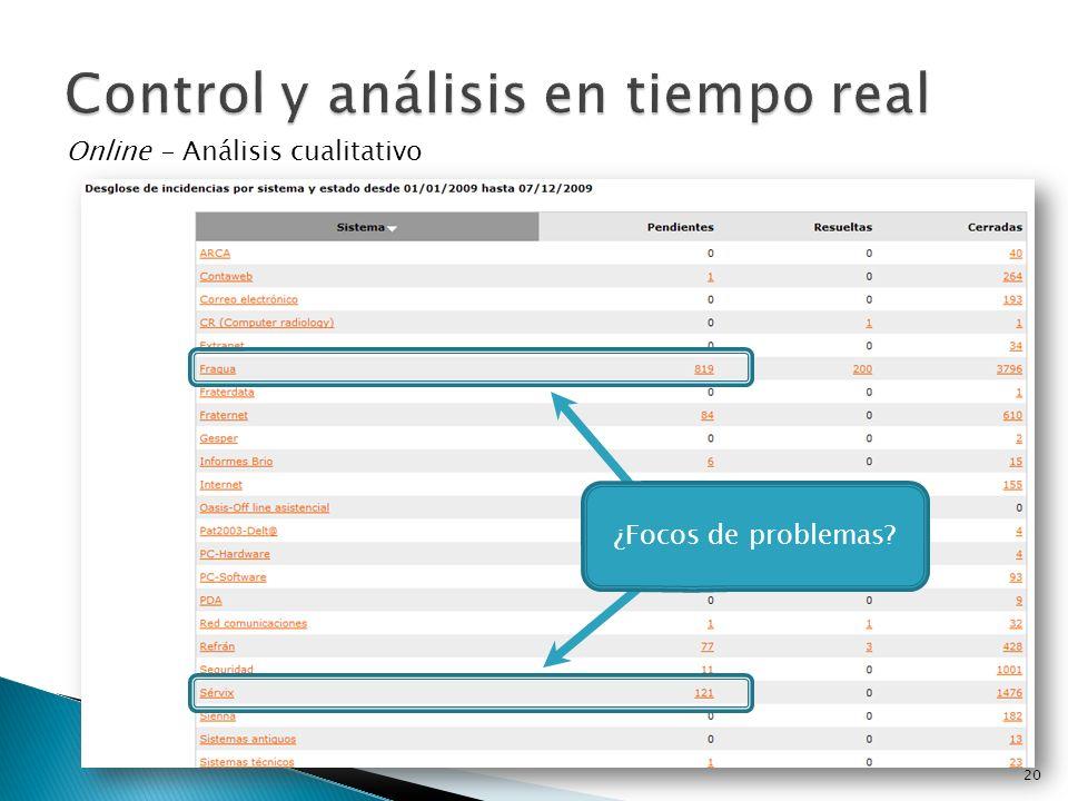 Online - Análisis cualitativo ¿Focos de problemas? 20