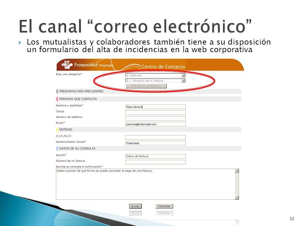 Los mutualistas y colaboradores también tiene a su disposición un formulario del alta de incidencias en la web corporativa 32