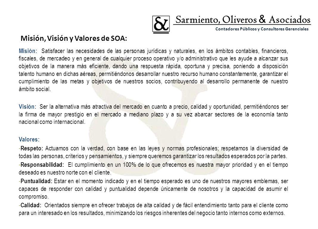 Misión: Satisfacer las necesidades de las personas jurídicas y naturales, en los ámbitos contables, financieros, fiscales, de mercadeo y en general de