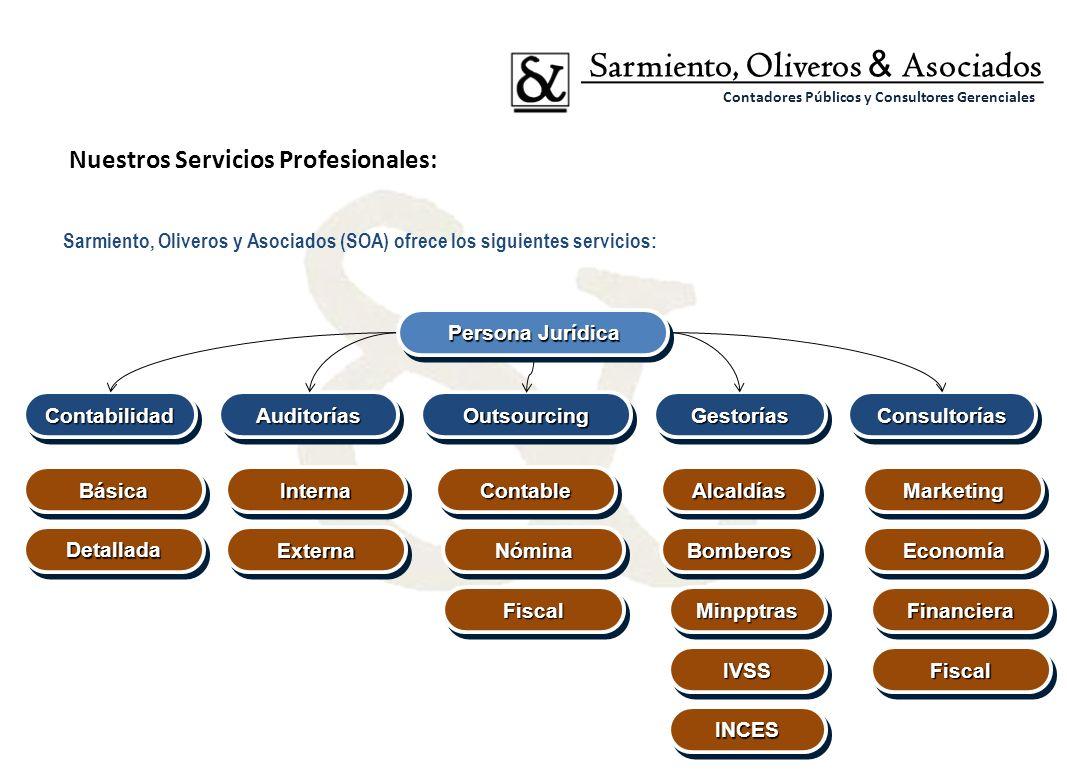 Sarmiento, Oliveros y Asociados (SOA) ofrece los siguientes servicios: Sarmiento, Oliveros & Asociados Contadores Públicos y Consultores Gerenciales N
