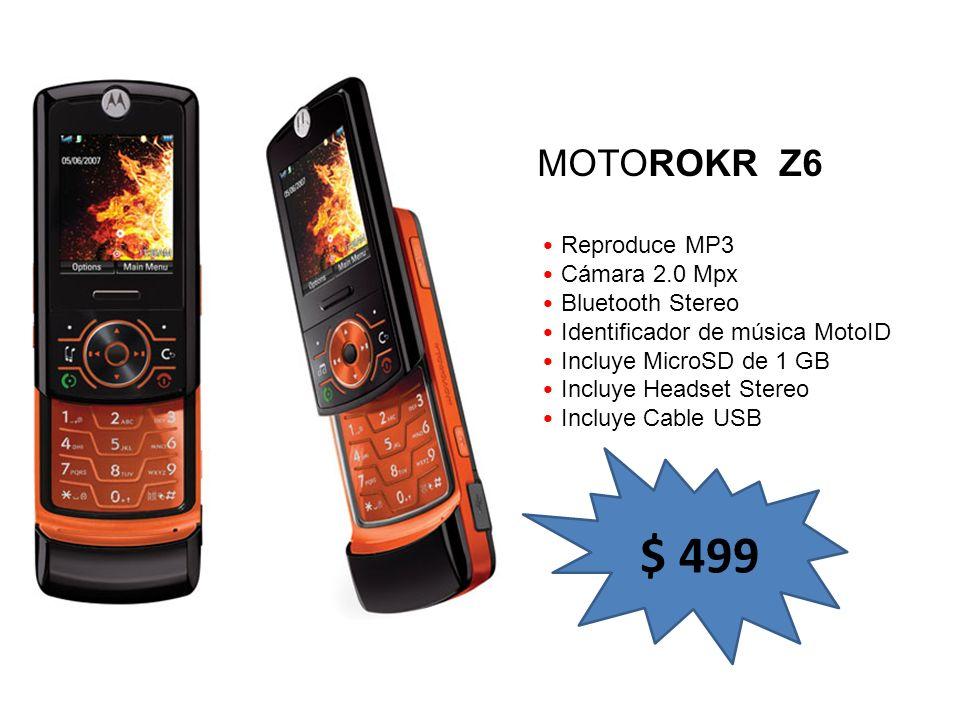 Reproduce MP3 Cámara 2.0 Mpx Bluetooth Stereo Identificador de música MotoID Incluye MicroSD de 1 GB Incluye Headset Stereo Incluye Cable USB MOTOROKR