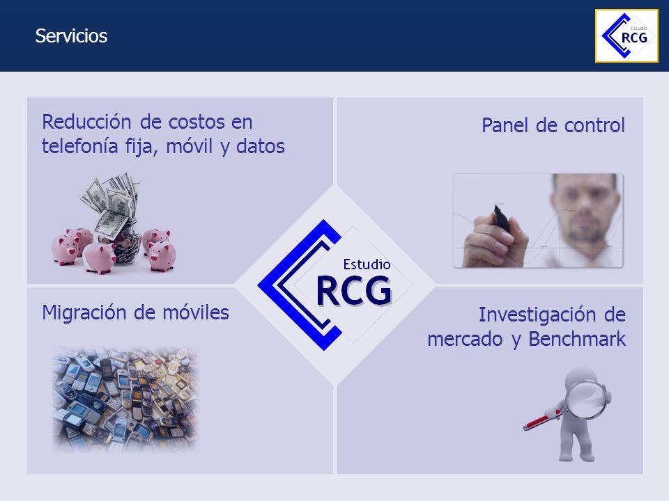 Migración de celulares Investigación de mercado y Benchmark Panel de control Reducción de costos en telefonía fija, móvil y datos Servicios
