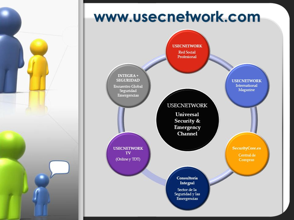 www.usecnetwork.com USECNETWORK Universal Security & Emergency Channel USECNETWORK Red Social Profesional USECNETWORK International Magazine SecurityCore.es Central de Compras Consultoría Integral Sector de la Seguridad y las Emergencias USECNETWORK TV (Online y TDT) INTEGRA + SEGURIDAD Encuentro Global Seguridad Emergencias