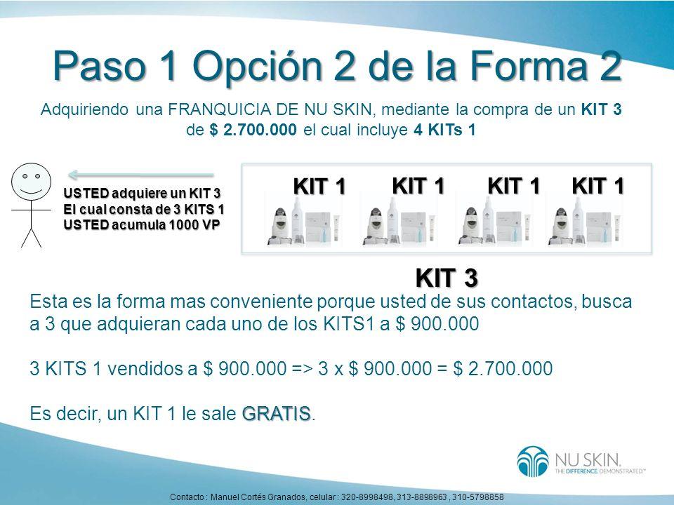 Paso 1 Opción 2 de la Forma 2 Adquiriendo una FRANQUICIA DE NU SKIN, mediante la compra de un KIT 3 de $ 2.700.000 el cual incluye 4 KITs 1 Esta es la