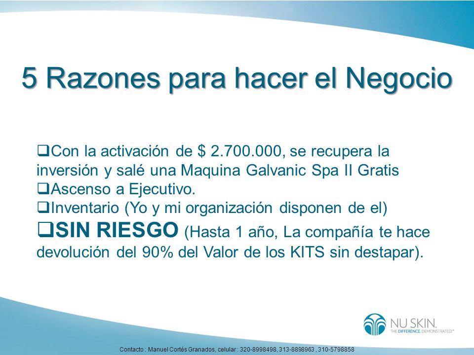 5 Razones para hacer el Negocio Con la activación de $ 2.700.000, se recupera la inversión y salé una Maquina Galvanic Spa II Gratis Ascenso a Ejecuti