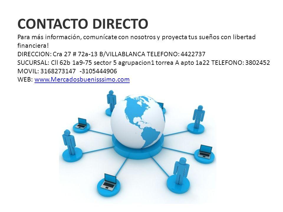 CONTACTO DIRECTO Para más información, comunícate con nosotros y proyecta tus sueños con libertad financiera! DIRECCION: Cra 27 # 72a-13 B/VILLABLANCA