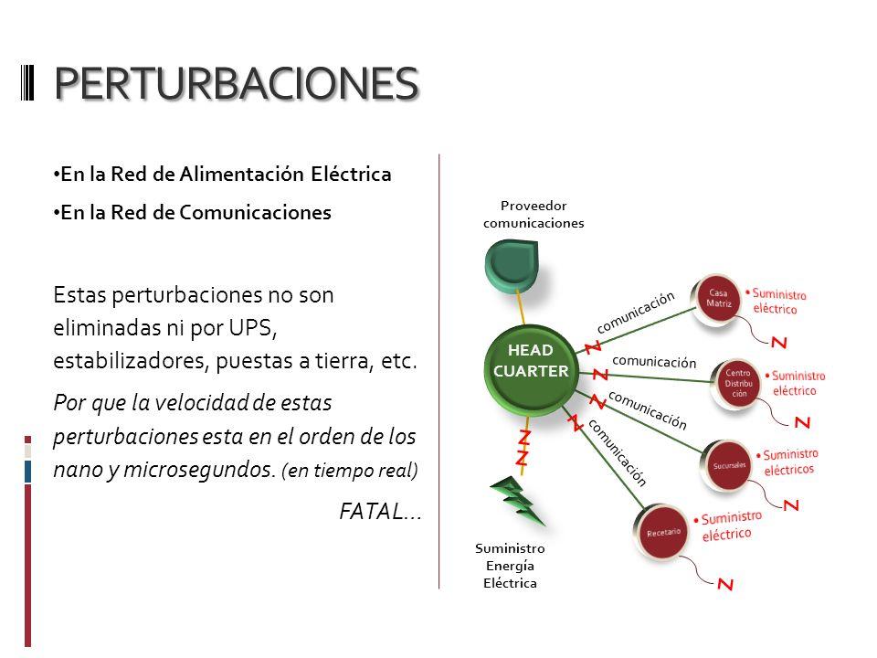 PERTURBACIONES En la Red de Alimentación Eléctrica En la Red de Comunicaciones Estas perturbaciones no son eliminadas ni por UPS, estabilizadores, pue