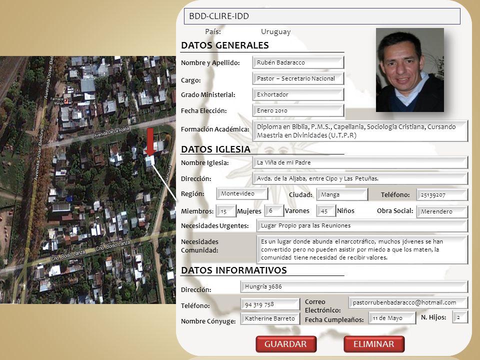 BDD-CLIRE-IDD País:Uruguay DATOS GENERALES Nombre y Apellido: Rubén Badaracco Cargo: Pastor – Secretario Nacional Exhortador Grado Ministerial: Formac