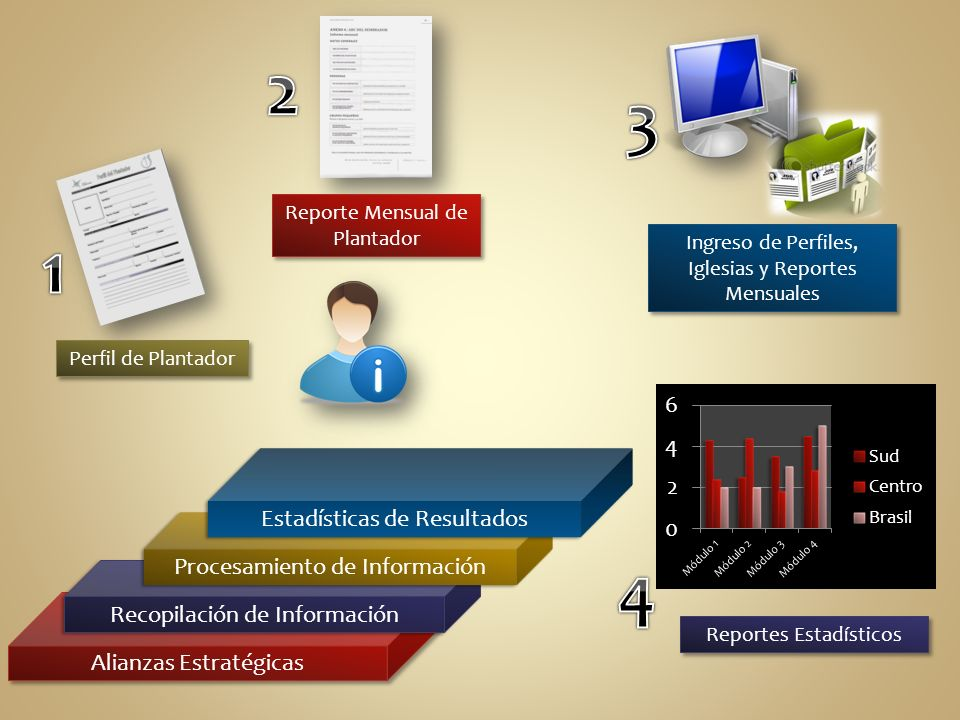 Alianzas Estratégicas Recopilación de Información Perfil de Plantador Reporte Mensual de Plantador Procesamiento de Información Ingreso de Perfiles, Iglesias y Reportes Mensuales Estadísticas de Resultados Reportes Estadísticos
