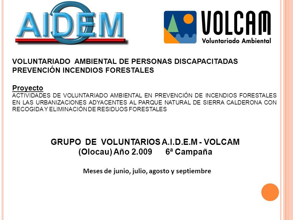 VOLUNTARIADO AMBIENTAL DE PERSONAS DISCAPACITADAS PREVENCIÓN INCENDIOS FORESTALES Proyecto ACTIVIDADES DE VOLUNTARIADO AMBIENTAL EN PREVENCIÓN DE INCE
