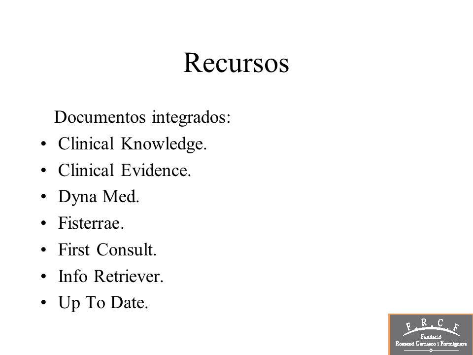 Recursos Documentos integrados: Clinical Knowledge.