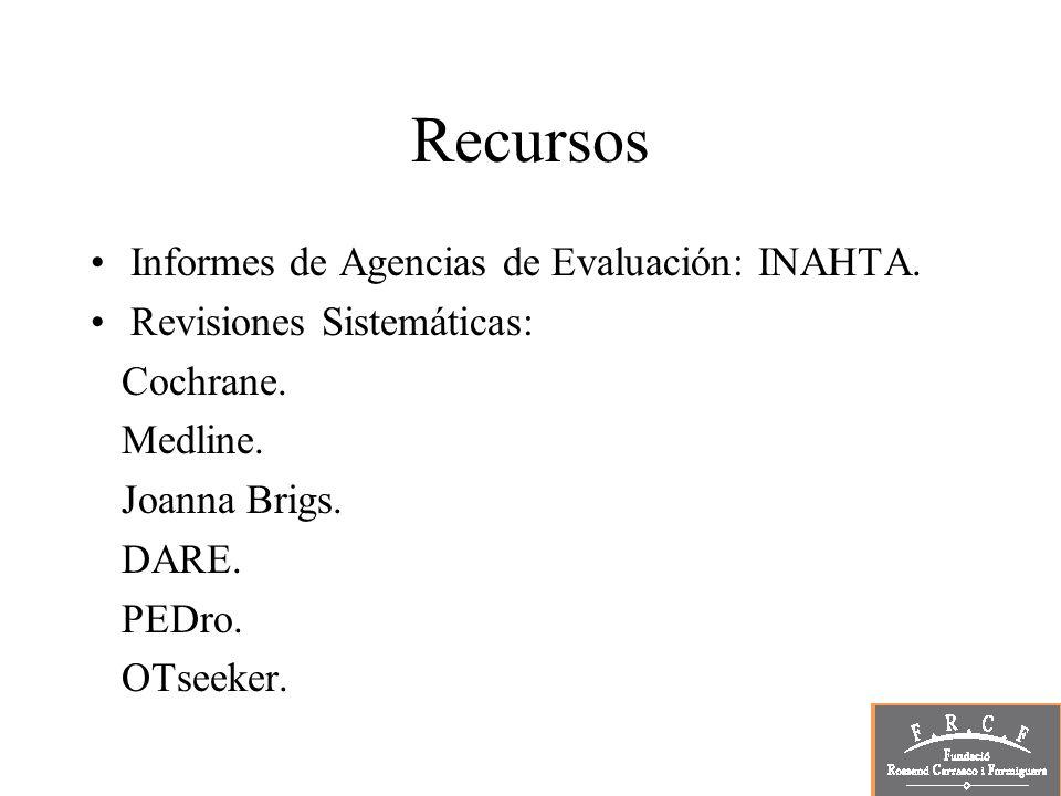 Recursos Informes de Agencias de Evaluación: INAHTA. Revisiones Sistemáticas: Cochrane. Medline. Joanna Brigs. DARE. PEDro. OTseeker.