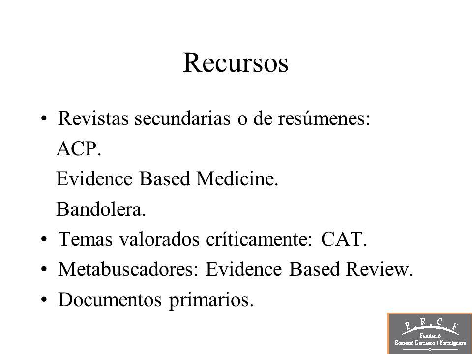 Recursos Revistas secundarias o de resúmenes: ACP. Evidence Based Medicine. Bandolera. Temas valorados críticamente: CAT. Metabuscadores: Evidence Bas