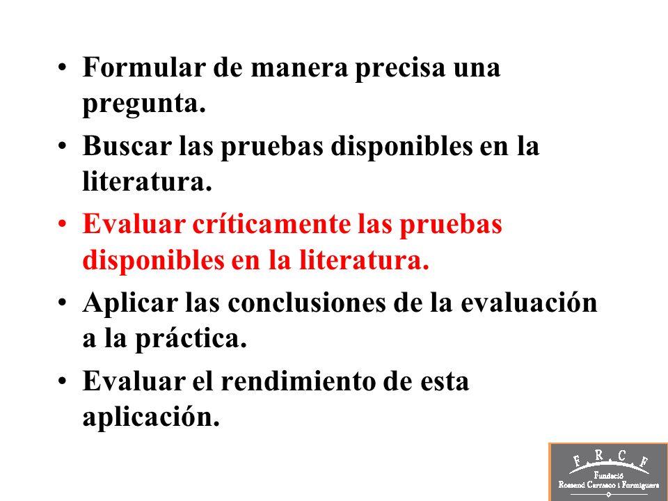 Formular de manera precisa una pregunta. Buscar las pruebas disponibles en la literatura. Evaluar críticamente las pruebas disponibles en la literatur