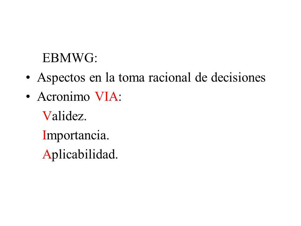 EBMWG: Aspectos en la toma racional de decisiones Acronimo VIA: Validez. Importancia. Aplicabilidad.