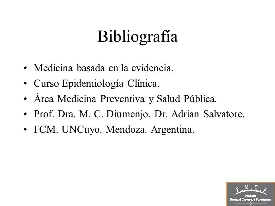 Bibliografía Medicina basada en la evidencia. Curso Epidemiología Clínica. Área Medicina Preventiva y Salud Pública. Prof. Dra. M. C. Diumenjo. Dr. Ad