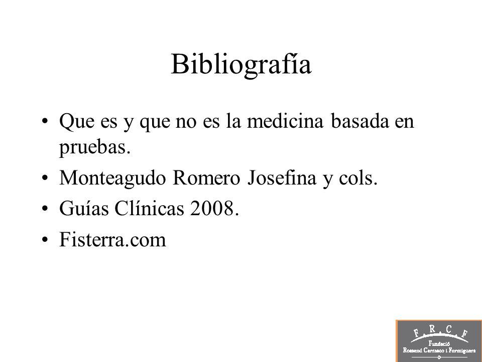 Bibliografía Que es y que no es la medicina basada en pruebas. Monteagudo Romero Josefina y cols. Guías Clínicas 2008. Fisterra.com