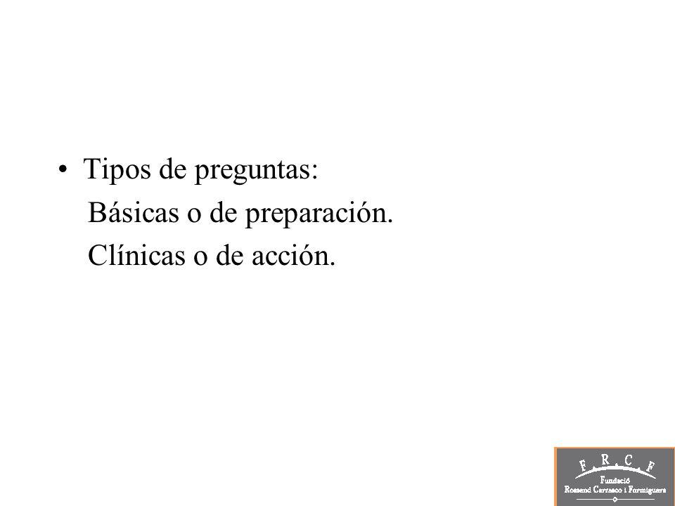 Componentes principales de una pregunta clínica: Paciente o población o problema.