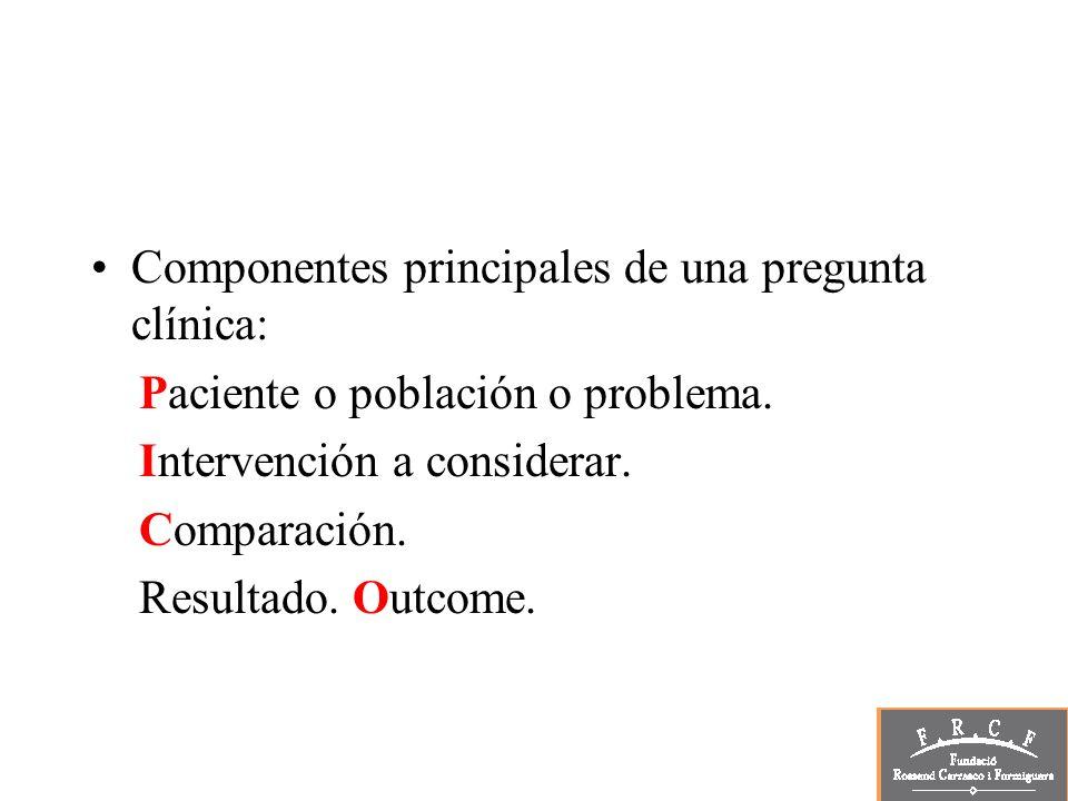 Componentes principales de una pregunta clínica: Paciente o población o problema. Intervención a considerar. Comparación. Resultado. Outcome.