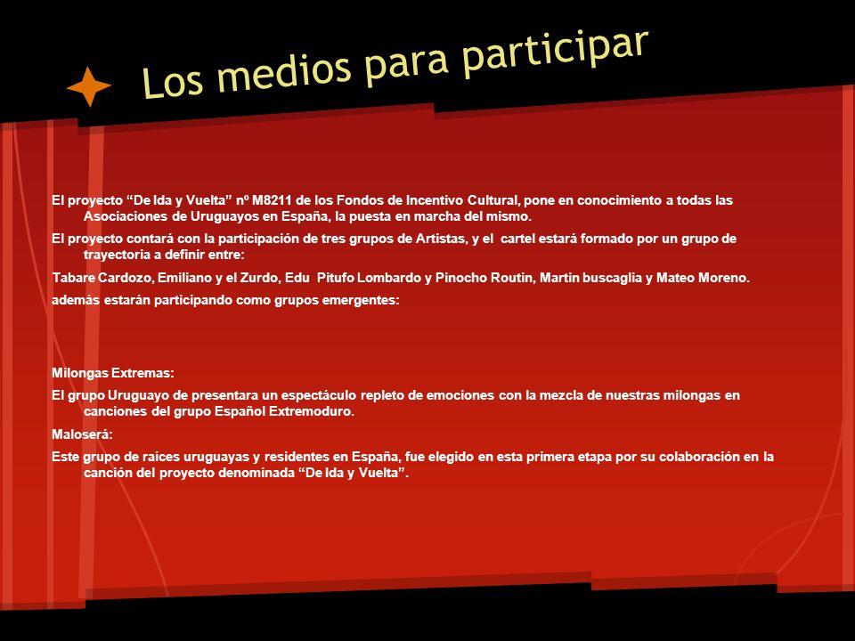 Los medios para participar El proyecto De Ida y Vuelta nº M8211 de los Fondos de Incentivo Cultural, pone en conocimiento a todas las Asociaciones de Uruguayos en España, la puesta en marcha del mismo.