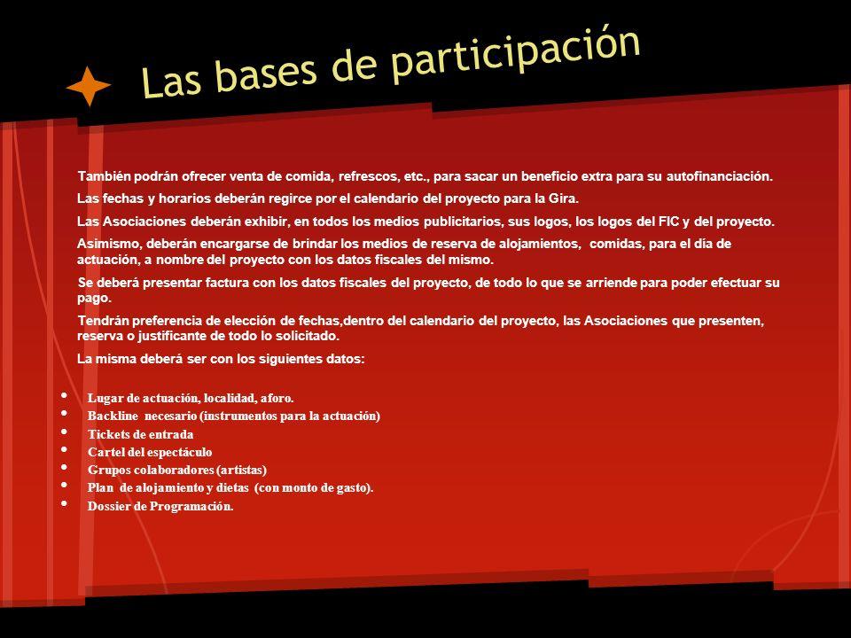 Las bases de participación En el supuesto caso de ciudades que cuenten con dos o mas Asociaciones, las mismas, deberán llegar a un acuerdo de participación para hacer el espectáculo en conjunto.