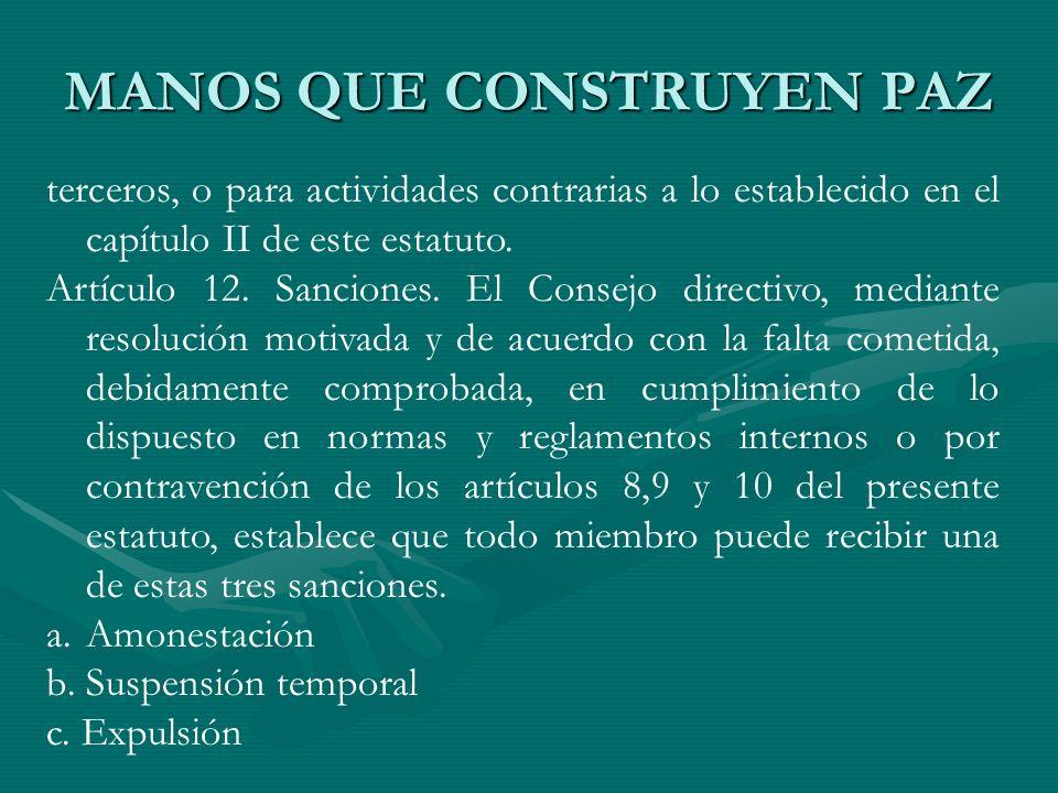 terceros, o para actividades contrarias a lo establecido en el capítulo II de este estatuto. Artículo 12. Sanciones. El Consejo directivo, mediante re