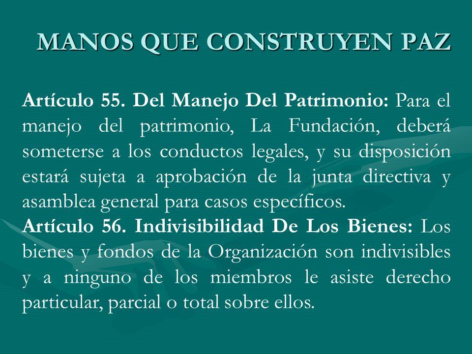 Artículo 55. Del Manejo Del Patrimonio: Para el manejo del patrimonio, La Fundación, deberá someterse a los conductos legales, y su disposición estará