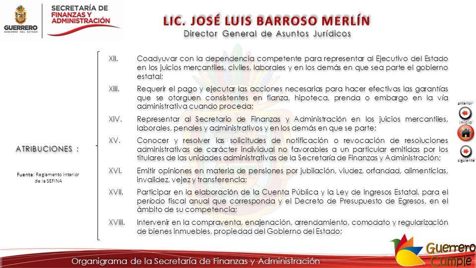 Director General de Asuntos Jurídicos ATRIBUCIONES : XII.Coadyuvar con la dependencia competente para representar al Ejecutivo del Estado en los juici