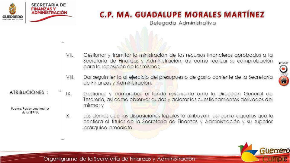 Delegada Administrativa ATRIBUCIONES : VII.Gestionar y tramitar la ministración de los recursos financieros aprobados a la Secretaría de Finanzas y Ad