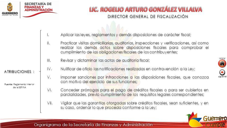 DIRECTOR GENERAL DE FISCALIZACIÓN ATRIBUCIONES : I.Aplicar las leyes, reglamentos y demás disposiciones de carácter fiscal; II.Practicar visitas domic