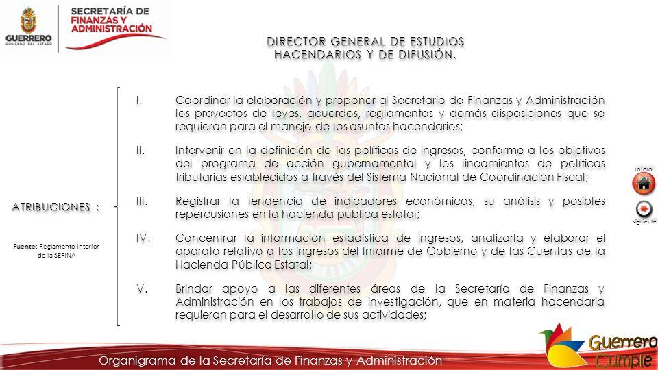 DIRECTOR GENERAL DE ESTUDIOS HACENDARIOS Y DE DIFUSIÓN. ATRIBUCIONES : I.Coordinar la elaboración y proponer al Secretario de Finanzas y Administració