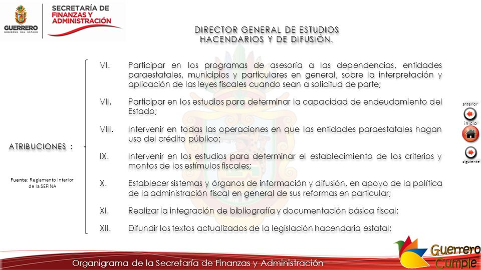 DIRECTOR GENERAL DE ESTUDIOS HACENDARIOS Y DE DIFUSIÓN. ATRIBUCIONES : VI.Participar en los programas de asesoría a las dependencias, entidades paraes