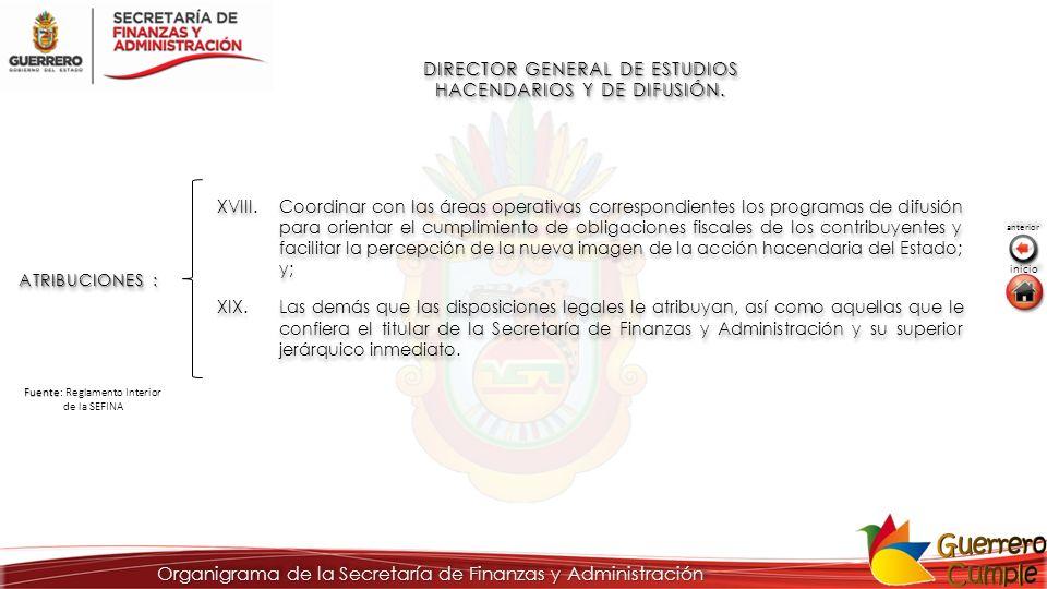 DIRECTOR GENERAL DE ESTUDIOS HACENDARIOS Y DE DIFUSIÓN. ATRIBUCIONES : XVIII.Coordinar con las áreas operativas correspondientes los programas de difu
